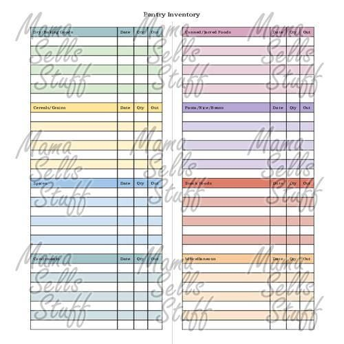 Printable Pantry Inventory Checklist Planner Page Letter Household - office inventory spreadsheet