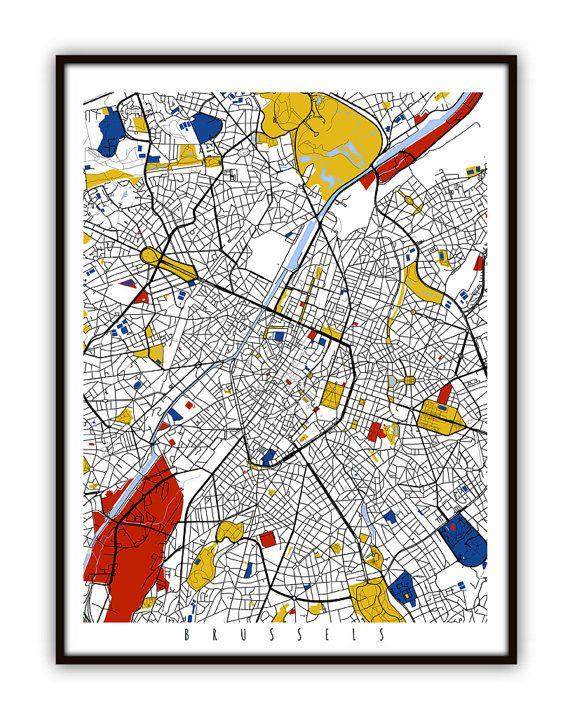 Brussels Map Art / Brussels Belgium Wall Art / by MondrianMapArt