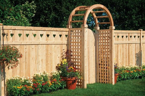 Wood privacy fencing arbor garden gate Cute but without hearts on