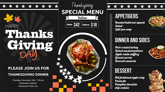 Exclusive black and white thanksgiving digital menu board template exclusive black and white thanksgiving digital menu board template maxwellsz