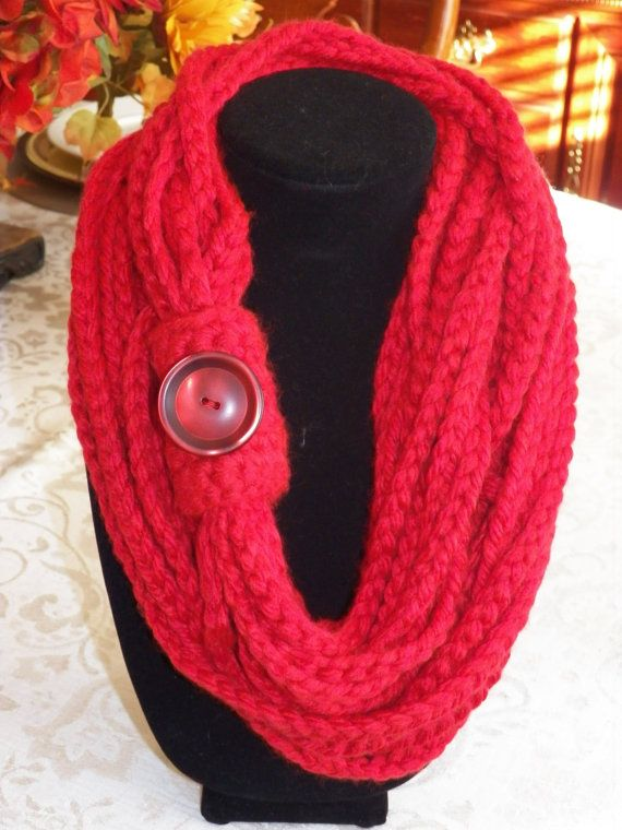 Red Crochet Infinity Scarf with Button. by SittisHands on Etsy $22.00 plus shipping