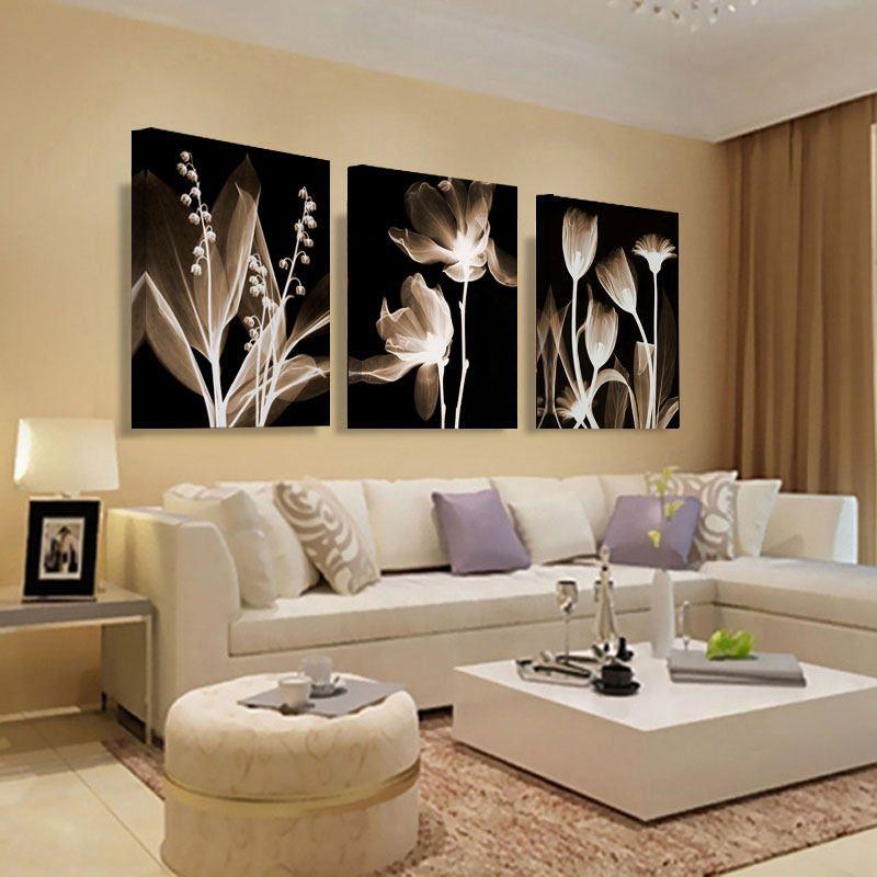 Arte De La Pared De La Lona De Pintura Abstracta Blanco Flores Pintura Sobre Li Decoracion De Salas Modernas Decoracion De Salas Decoracion De Interiores Salas
