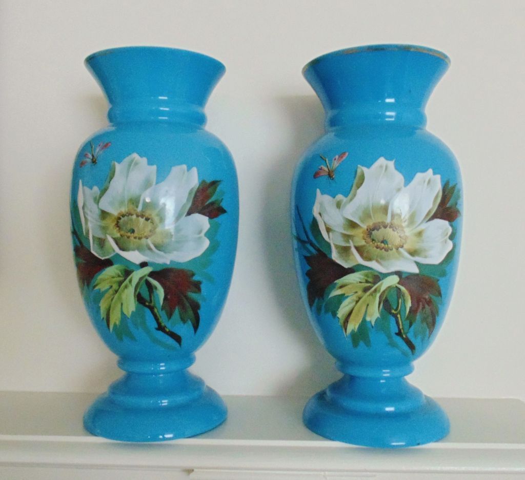 Pair antique vases blue opaline glass french victorian for cabinet pair antique vases blue opaline glass french victorian for cabinet or mantle w hand painted magnolia tree flowers dragonfly floral france reviewsmspy