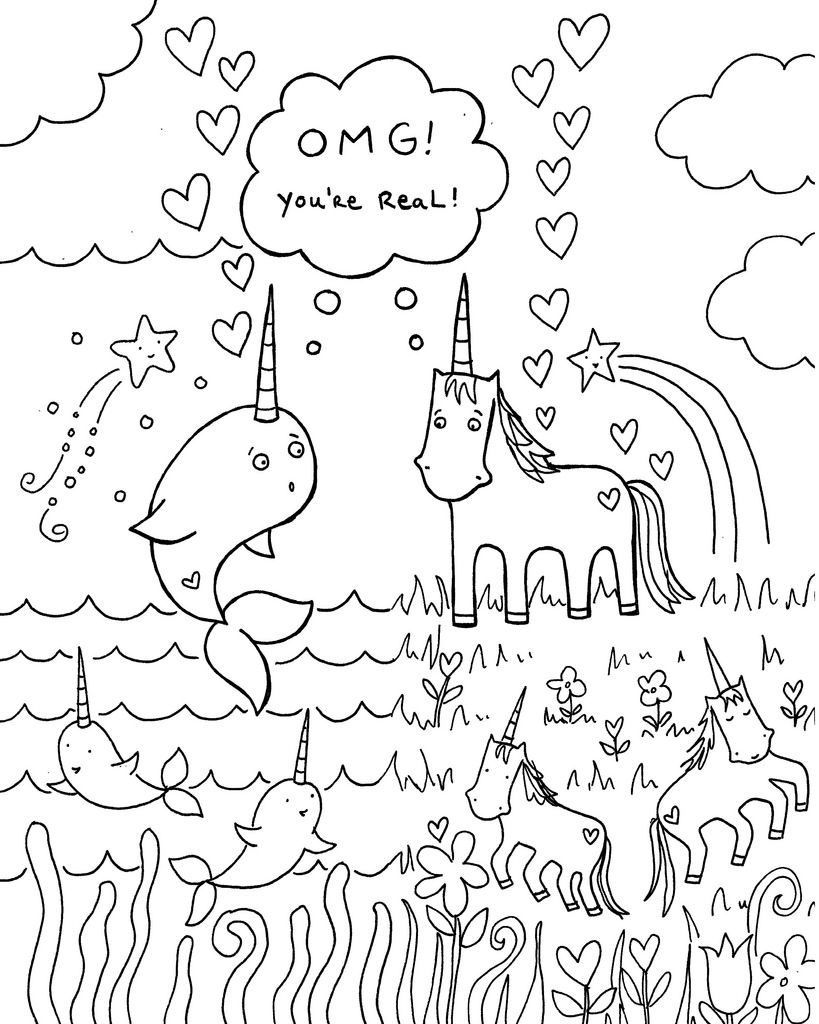 Narwhal and Jelly coloring page Coloring pages for kids