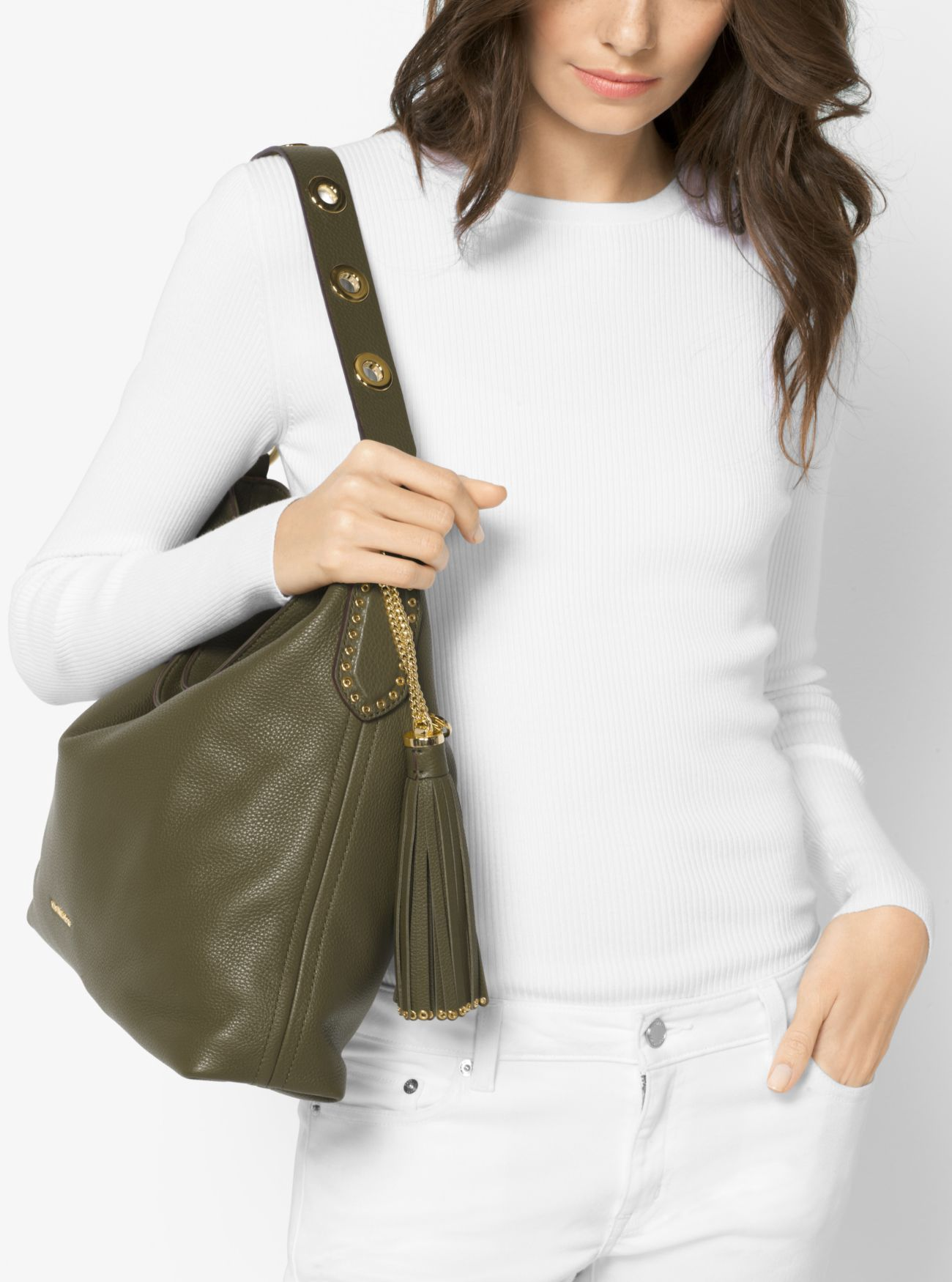 43d6d4daad34 Brooklyn Large Leather Shoulder Bag by Michael Kors | Products ...