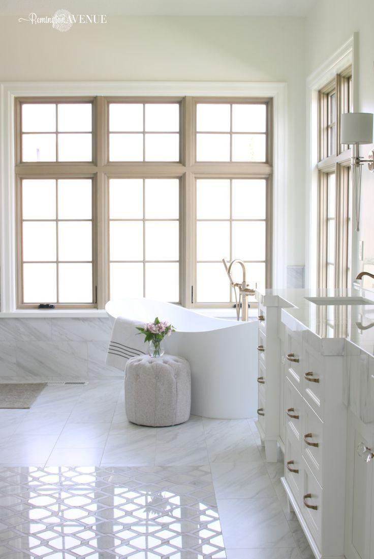 Marble master bathroom- wood lattice inlay