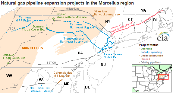 Natural Gas Pipeline Expansion Projects In The Marcellus Shale - Marcellus shale map