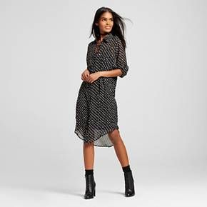 Women's Polka Dot Button Up Shirt Dress - K by Kersh : Target