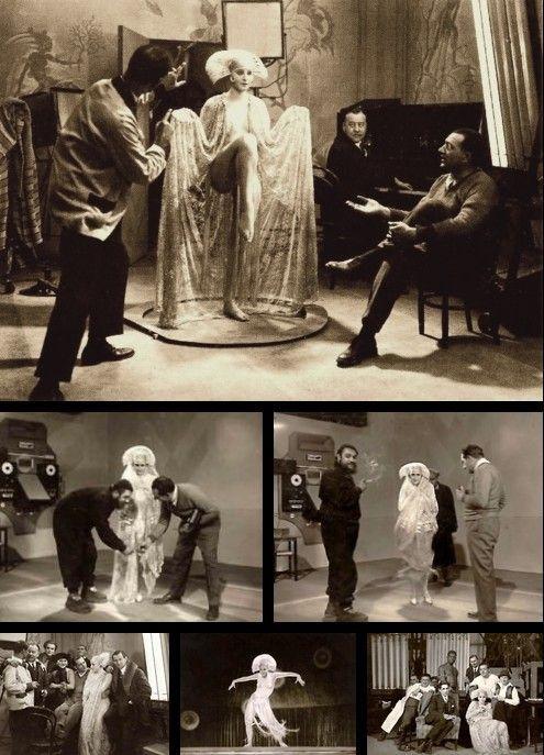 Brigitte Helm, Fritz Lang, Heinrich George and assorted cast & crew on the set of Metropolis (1927, dir. Fritz Lang) Photographer: Horst von Harbou: