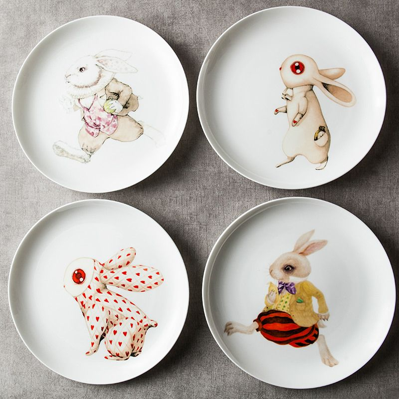 8 Inch Ceramic Dishes Plates Round Rabbits Printed In Glazed Decoration Character Cute Kid Breakfast Fruit Dish Creative P Ceramic Dishes Fruit Dishes Plates