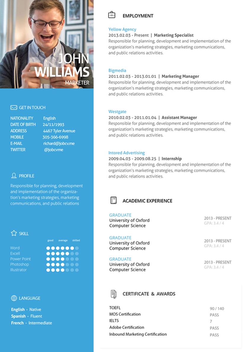 Select Theme Jobcv Resume Design Creative Resume Design Marketing Communication