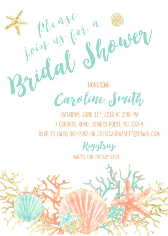 boho beach bridal shower invitation coral starfish by casaconfetti