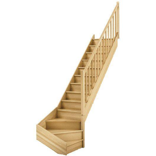 Escalier 1 4 Tournant Bas Droit Bois Hetre Soft Classic 13 Marches