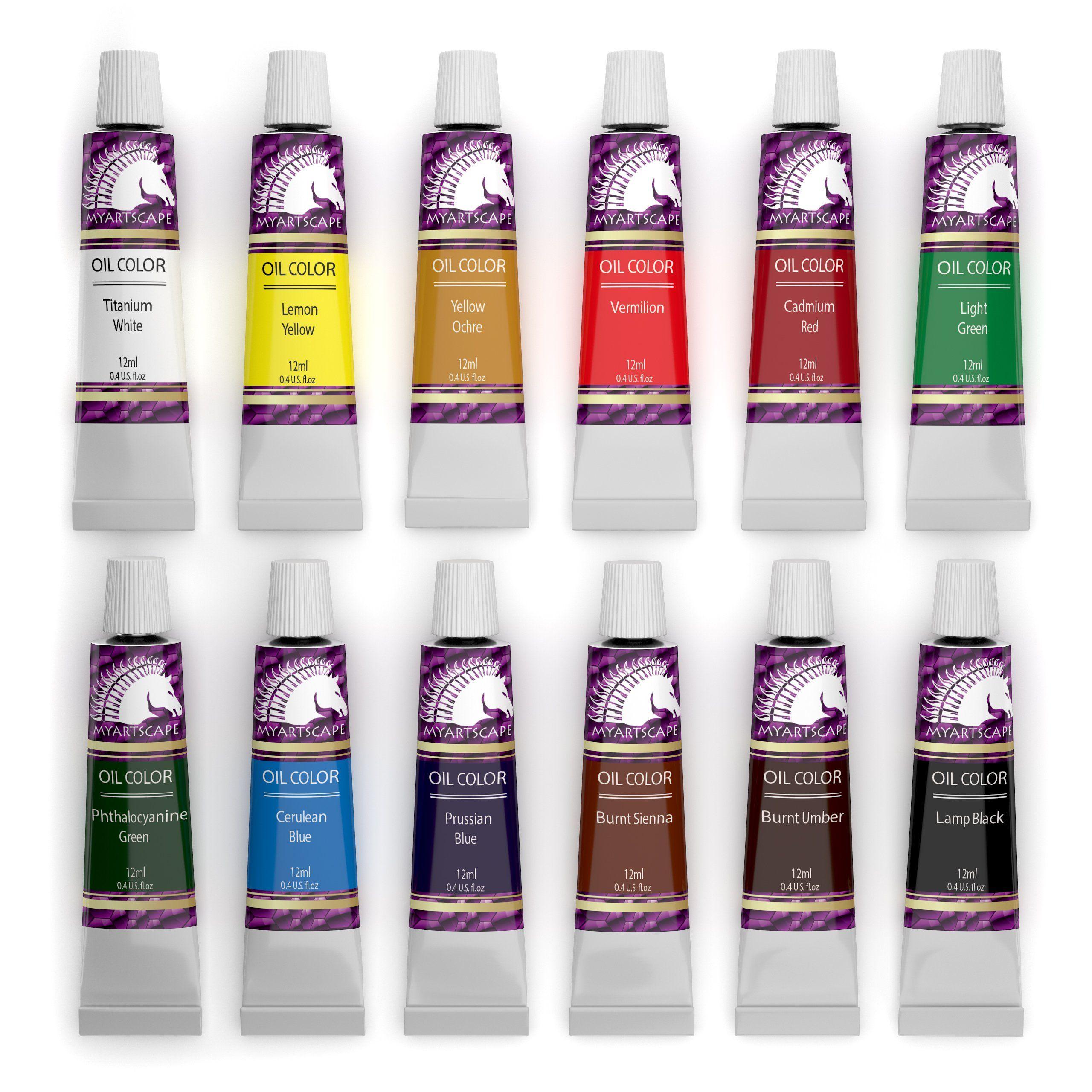 Oil Paint Set 12ml x 12 Tubes Artists Quality Art Paints