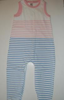 EUC Baby Gap Longall Romper One Piece Outfit Pink Blue & White Girls Sz 18 24 m FREE SHIPPING
