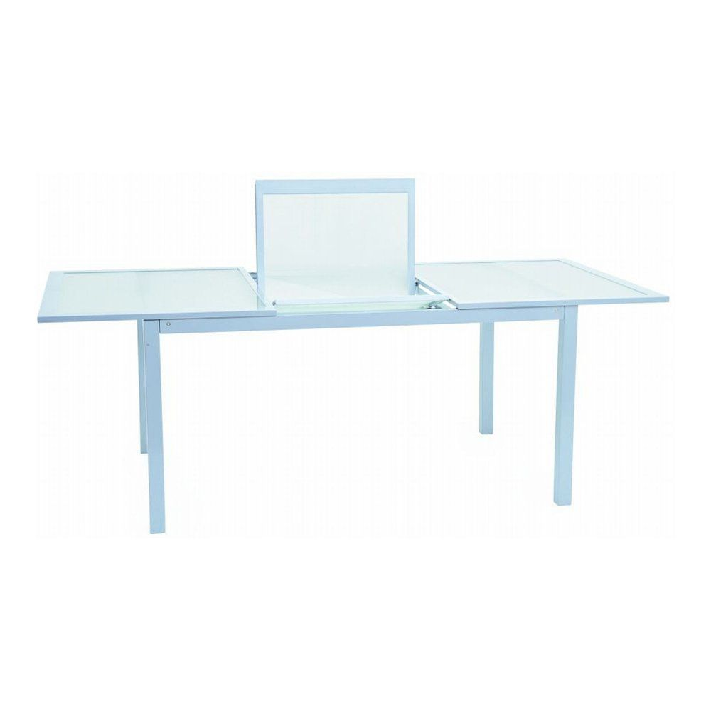 Garden table made of tempered glass and aluminum, B 200 cm, white ...