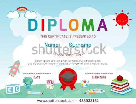 Certificates kindergarten and elementary, Preschool Kids Diploma ...