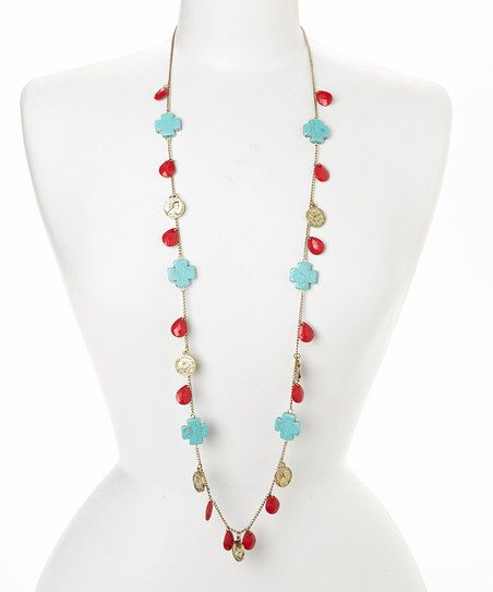 Gold & Coral Teardrop Bead Necklace