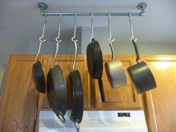 Easy hanging pan rack style carpentry and more. pinterest
