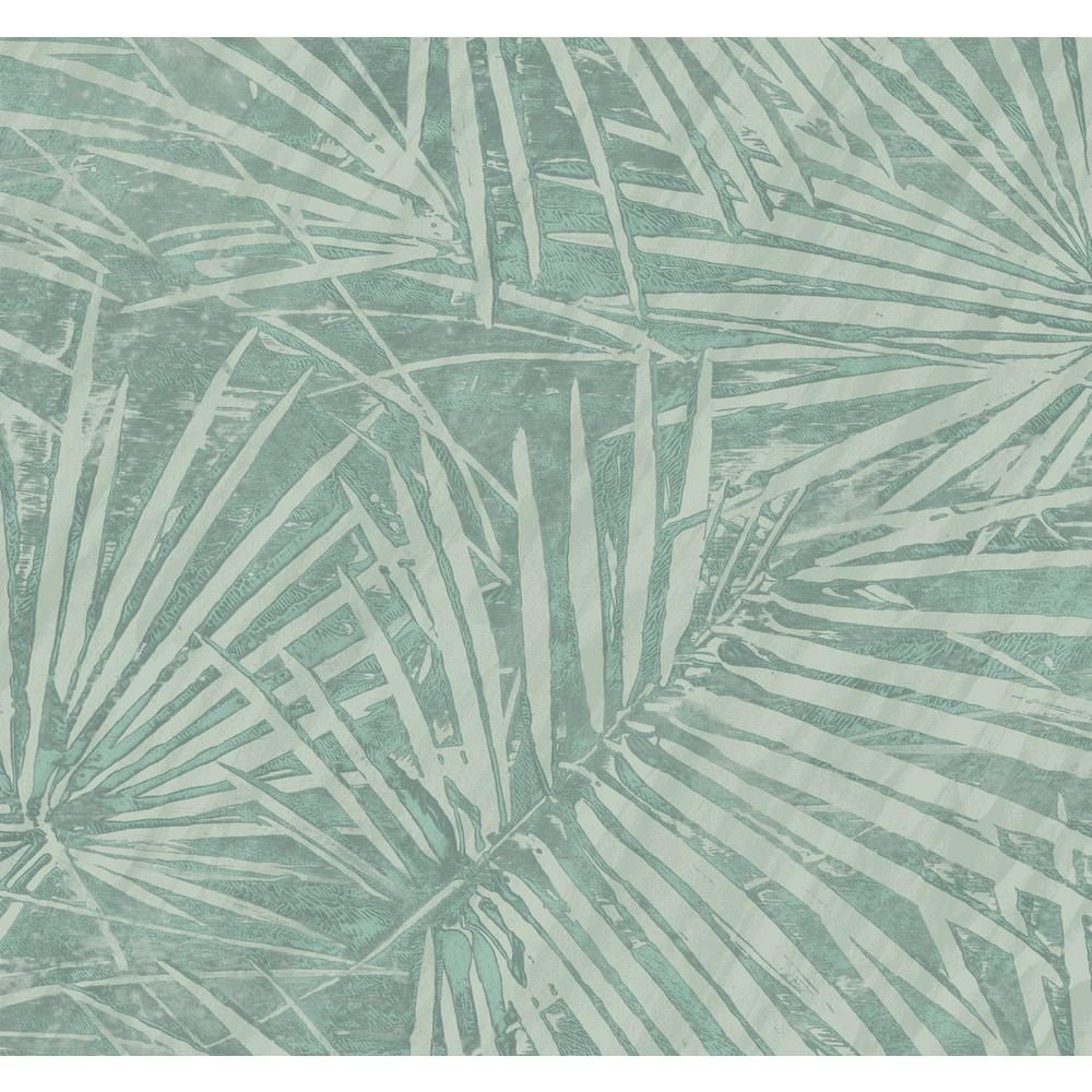 Seabrook Designs Fan Leaf Metallic Teal and Light Gray