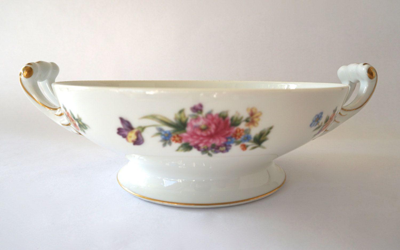 Sango Floradel Large Bowl, Footed Bowl, Floral Bowl, Vintage Bowl, Serving Bowl, 24k Gild, Circa 1940 by ForeverCharmVintage on Etsy
