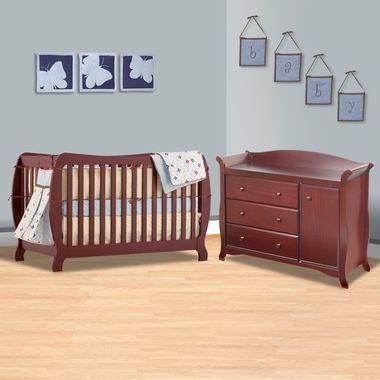 Storkcraft 2 Piece Nursery Set Monza Ii In 1 Convertible Crib And Aspen Combo Dresser Changer Cherry