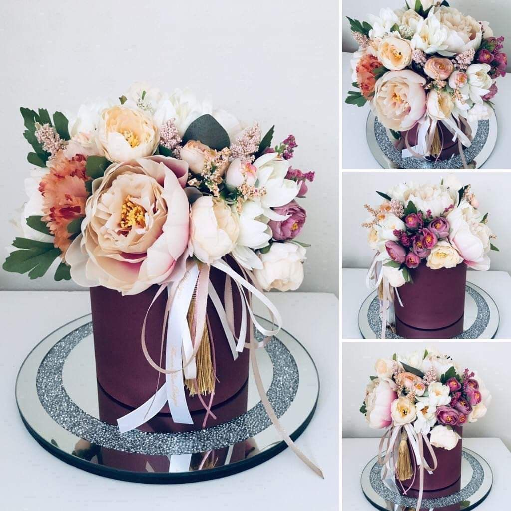 Excited To Share This Item From My Etsy Shop Artificial Flower Box Gift Wedding Beige Roses Ribbo Flower Box Gift Flower Box Centerpiece Flower Bouquet Boxes