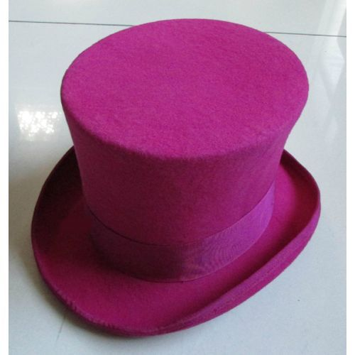 Men Women Fuchsia Wool Dress Lofty Pork Pie Jazz Hats Handmade SKU-159049