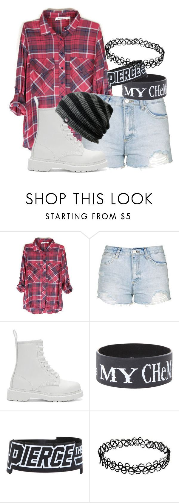 """""""Untitled #3429"""" by frerardforever ❤ liked on Polyvore featuring Topshop and Dr. Martens"""