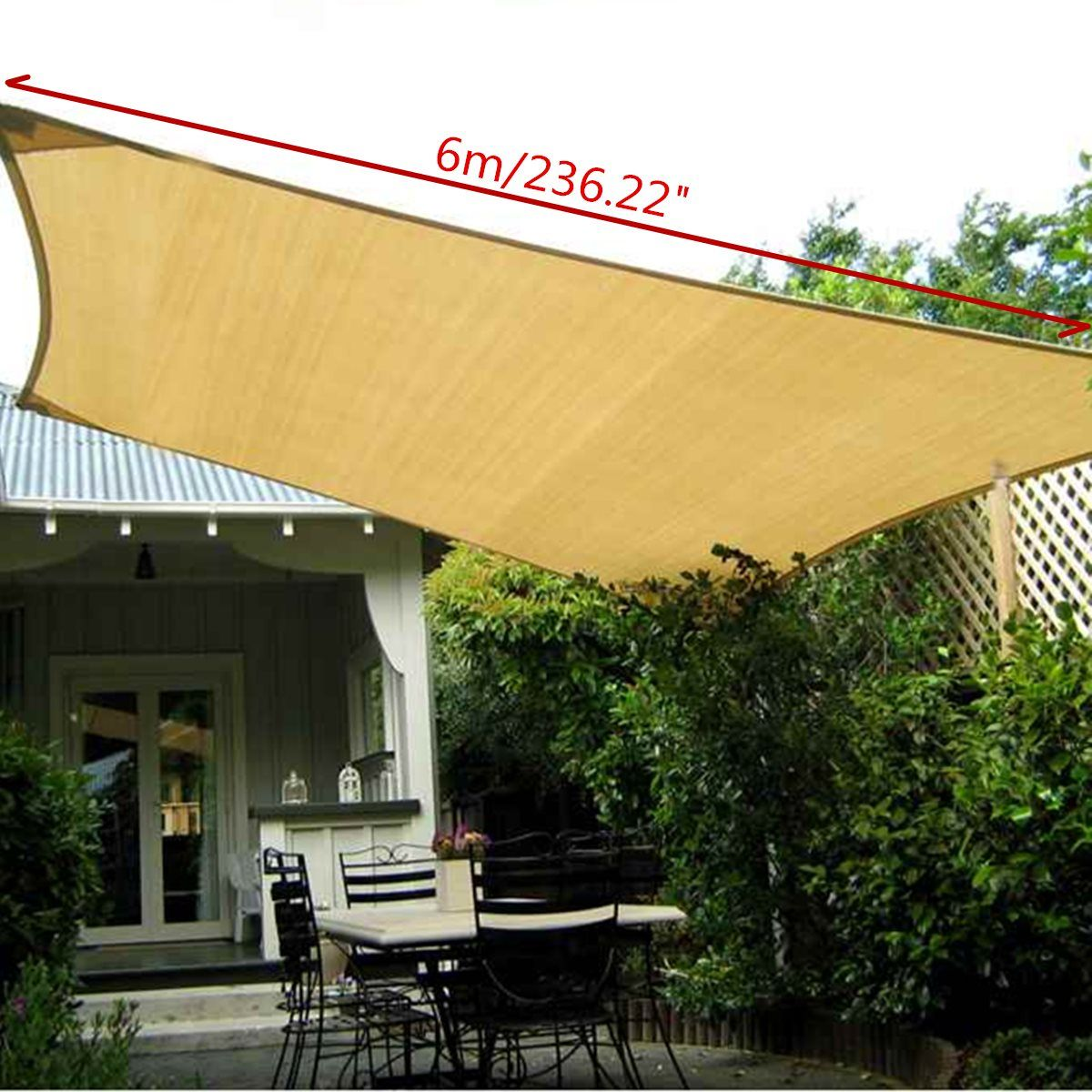 Uv Protection Polyester Sun Shade Sail 6x4m Outdoor Garden Top Canopy Cover Patio Pool Coffee Shop Awning Supplies Rectangle Af Shade Sail Patio Shade Pergola