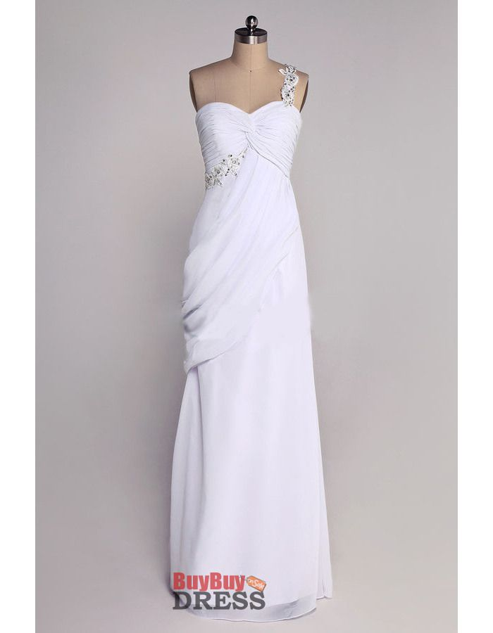 Vintage Column One Shoulder Floor Length Chiffon Wedding Dresses - US$ 109.99   BuyBuyDress.com