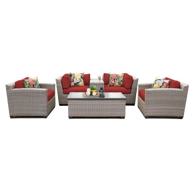 Outdoor TK Classics Florence Wicker 6 Piece Patio Conversation Set with Club Chair and 2 Sets of Cushion Covers Terracotta / Wheat - FLORENCE-06D-TERRACOTTA