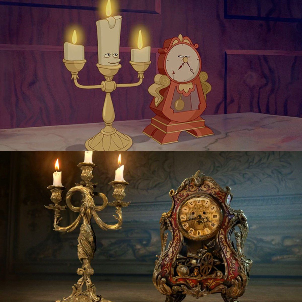 Live Action Beautyandthebeast Lumiere And Cogsworth
