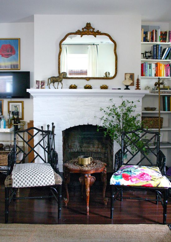 White Brick Fireplace Chinese Chippedale Chairs And Ornate Gold Mirror In Design Manifest Living Room