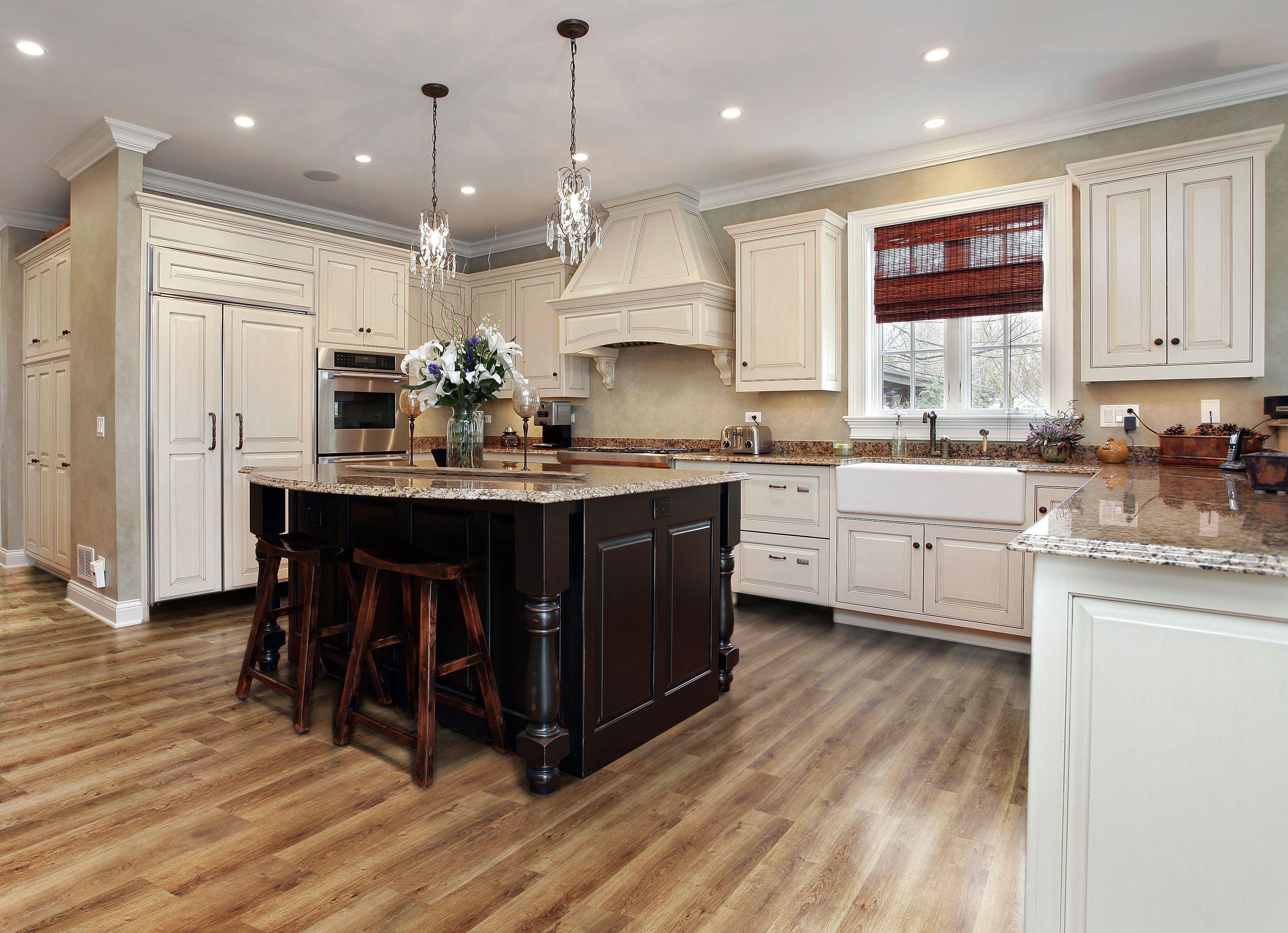 Golden Oak Plank Luxury kitchen design, Kitchen flooring