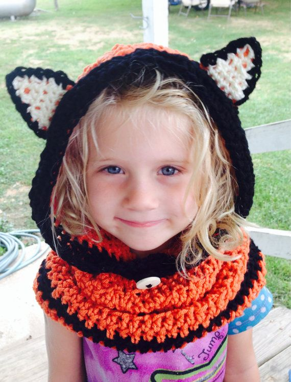Crocheted Toddler Child Adult Flint FOX Cowl Hood by shayahjane