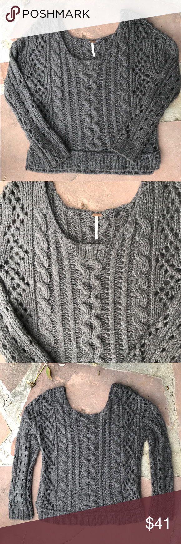 Free people cable knit sweater | Cable knit sweaters, Cable ...