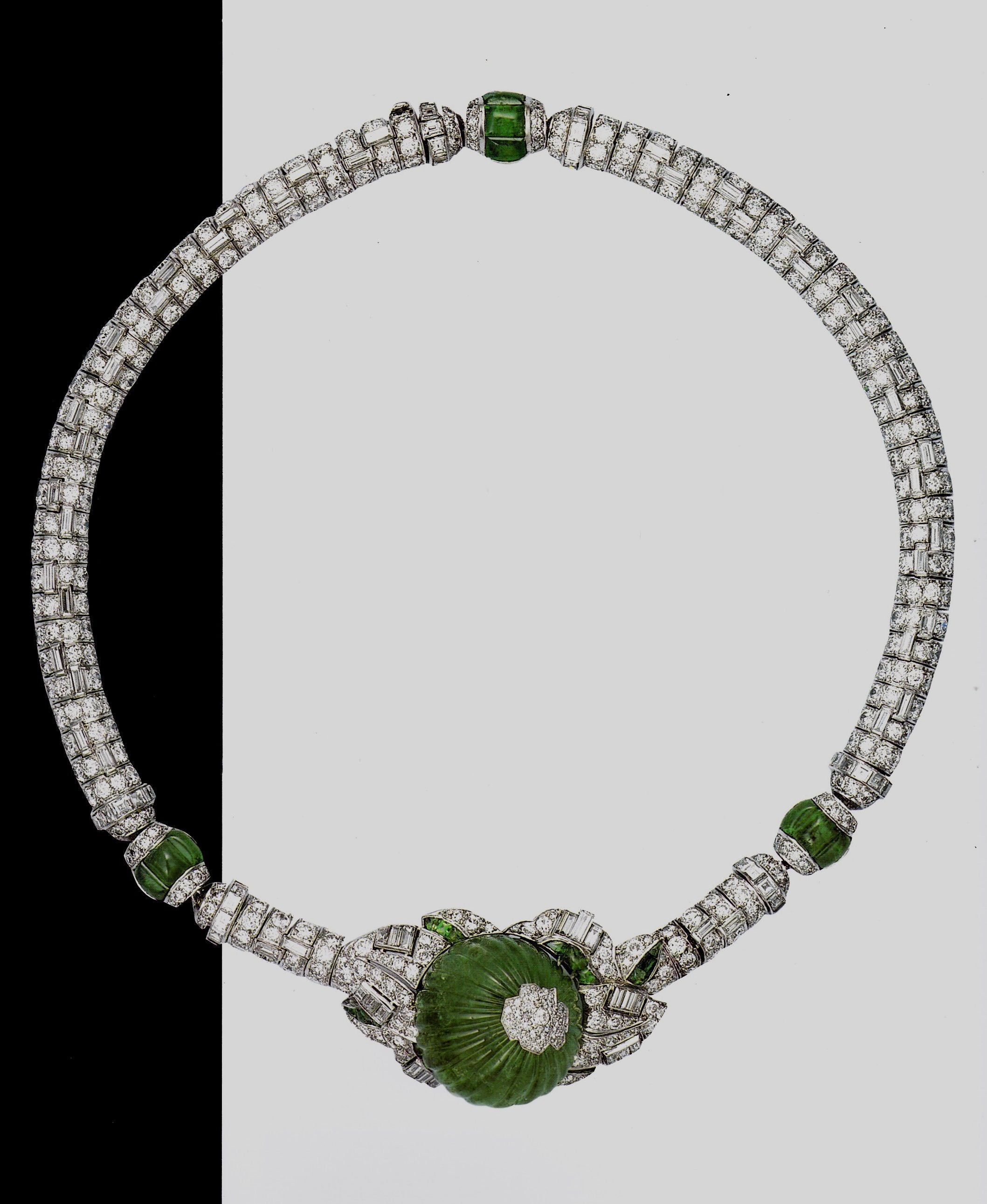 An Art Deco platinum, diamond and emerald necklace, by Mauboussin, circa 1931. Created for actress Claire Luce. Source: Hollywood Jewels - Proddow, Healy, Fasel.