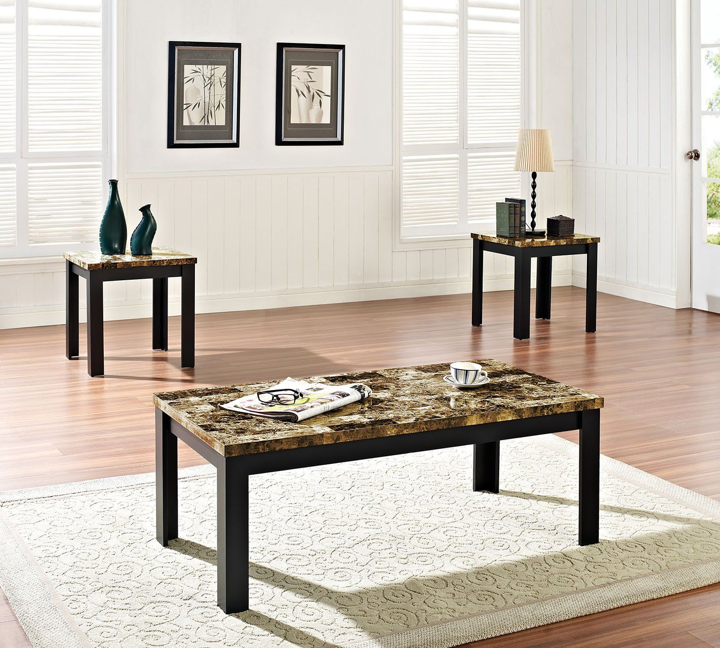 Acme 80320 Finely Black 3 Pieces Faux Faux Marble Top Coffee Table