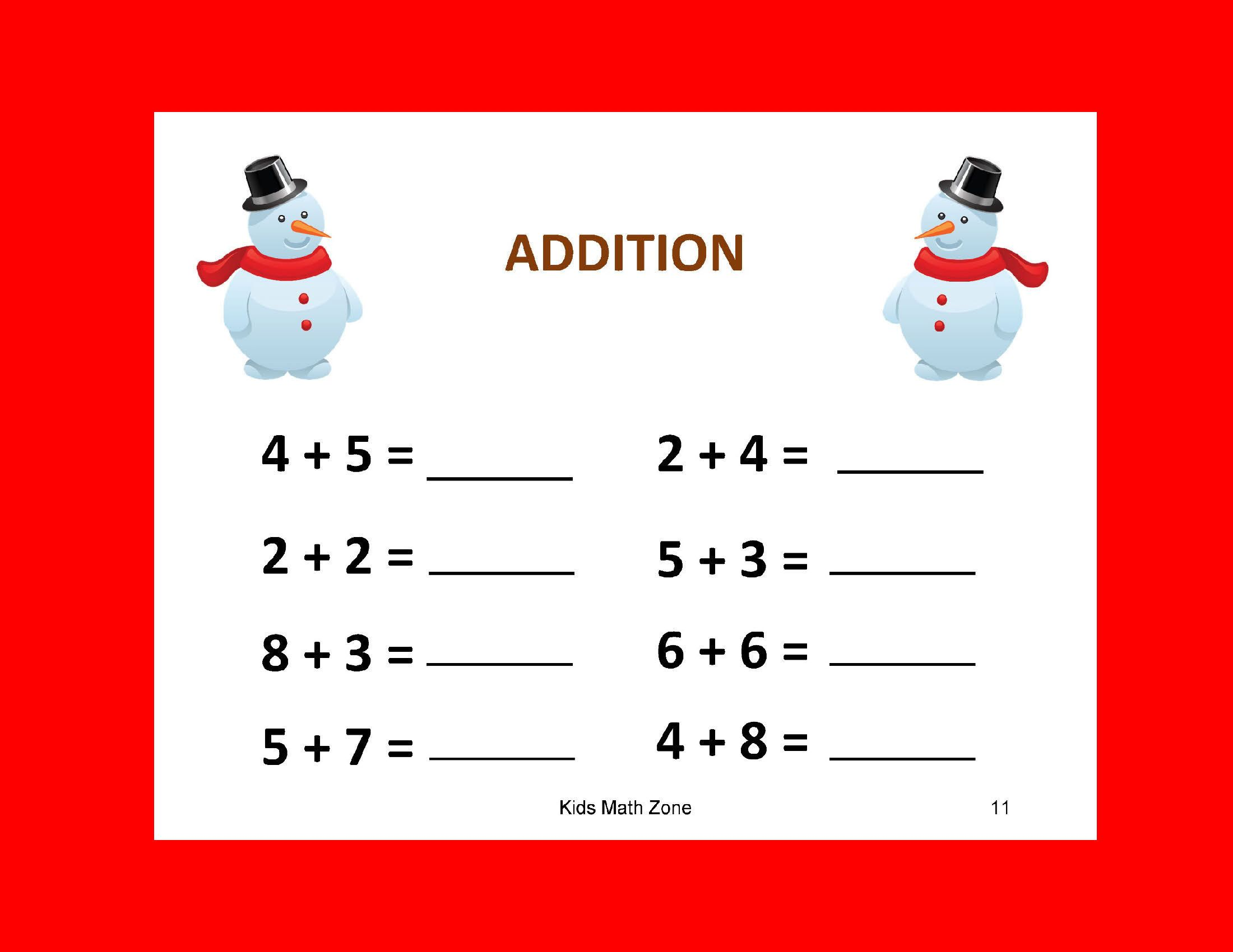 Snowman Addition B 12 Worksheets Preschool