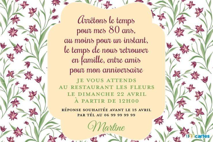 Invitation Anniversaire 80 Ans Fleurs Sauvages Anniversaire 80