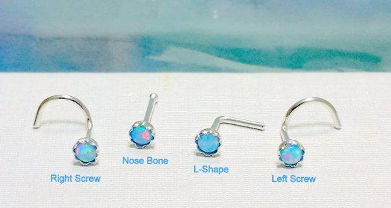 24 Gauge 925 Sterling Silver Light Blue Opal 2 3mm Nose Helix