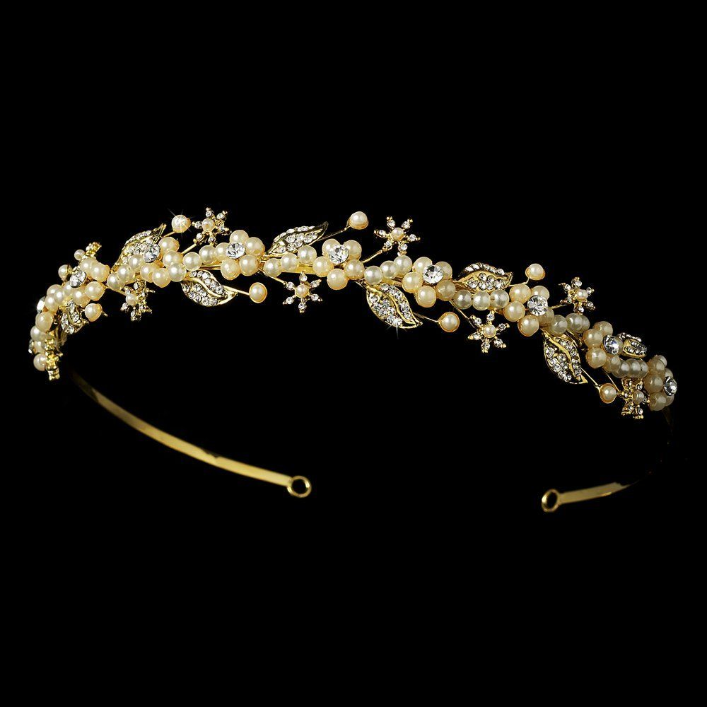 fiona gold ivory faux pearl and rhinestone floral vine wedding