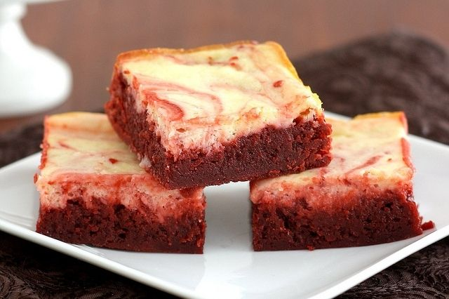 Red Velvet Cheesecake Brownies - Fudgy brownies topped with a layer of creamy cheesecake - perfect for Valentine's Day!