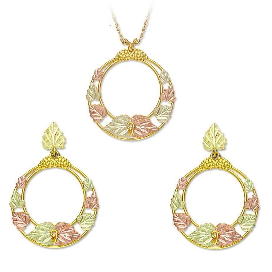 Black hills gold circular earrings u pendant set black hills gold