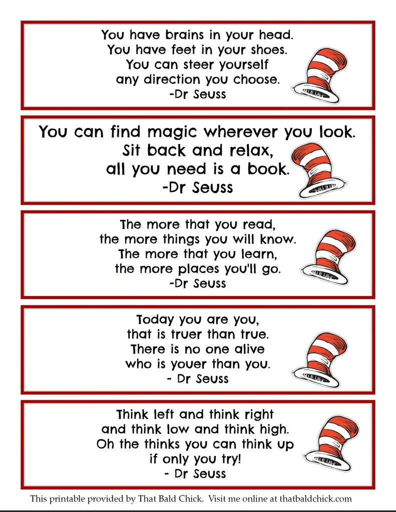 graphic regarding Printable Dr Seuss Quotes titled Printable Dr Seuss Estimate Bookmarks @thatbaldchick