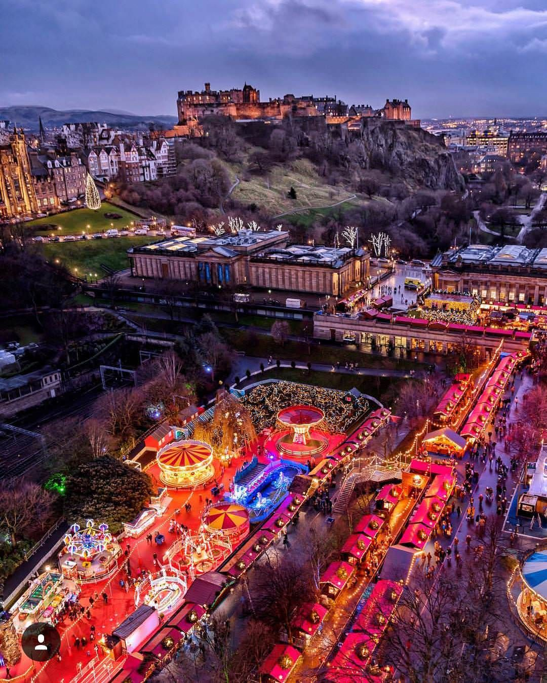 The Christmas market in Edinburgh, Scotland in 2020