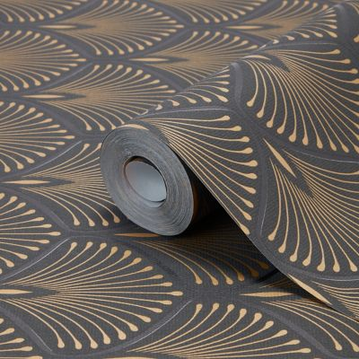 Papier Peint Vinyl Sur Intisse Echium Noir Et Or Papier Peint