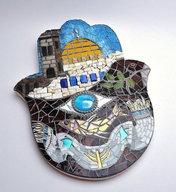 One Of A Kind Judaica Art Judaica Mosaic Hamsa Judaica Wall Hanging Hamsa Hand Made Wall Art Gold Marble Stained Glass Artwork Judaica Art Hamsa Mosaic