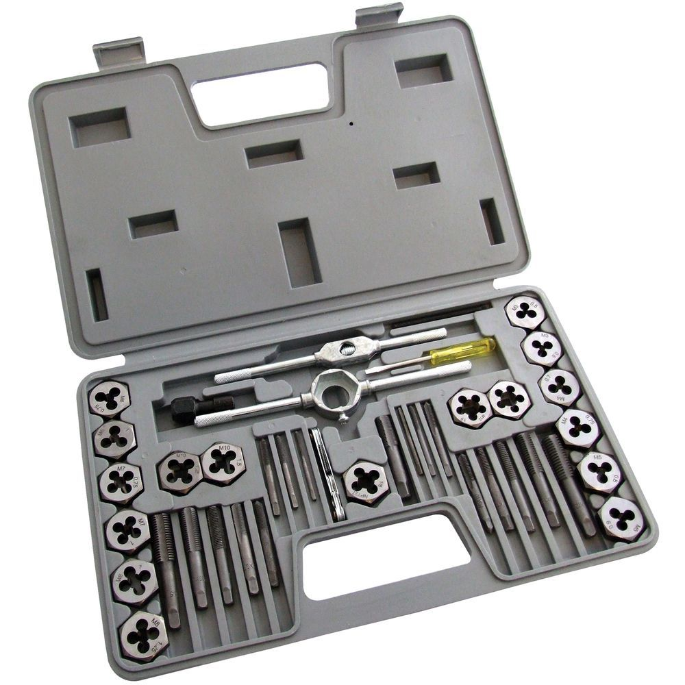 40pc tap and die set nut u0026 bolt screw thread cutter metric threading wrench tool